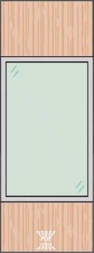 modelo divisória madeira mdf paginada 2 vidro com alumínio